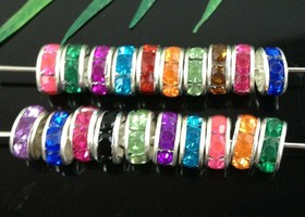 100Pcs Multicolor Silver Crystal Spacer Beads 8mm