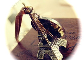 Eiffel Tower Charm with Necklace.