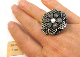 Antiqued Silver Locket Ring