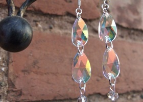 Swarovski crystal AB raindrop earrings