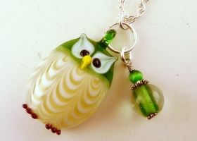 Glass Owl Pendant and Glass Bead Charm Necklace