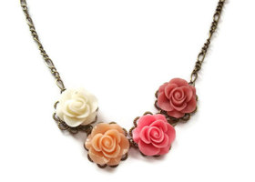 Floral Necklace, Soft Pink Flower Bronze Chain, Bridesmaid Style