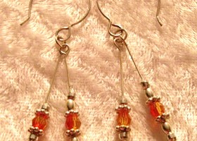 Swarovski Fire Opal Earrings on SS