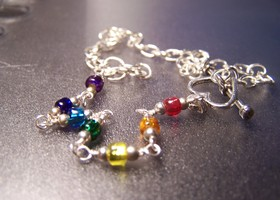 Rainbow beaded anklet