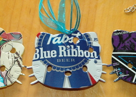 3 Upcycled Hello Kitty Soda Beer Can Necklaces Peace Tea PBR RockStar Energy