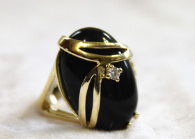 Black Onyx Cocktail Ring Size 7