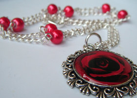 Necklace Photo art Red Rose Silver & Beads