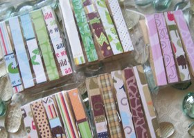 Decorative Decoupaged Clothespins Paper Both Sides SET OF 24 Safari Kids Mix