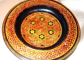 Vintage Intricate Inlayed Wooden Offering Bowl