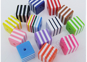 40 mixed striped acrylic square 8mm