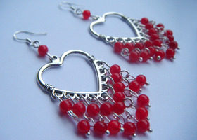 Red beaded heart earrings