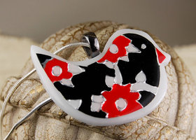 Black and Red Handpainted Metal Bird Necklace