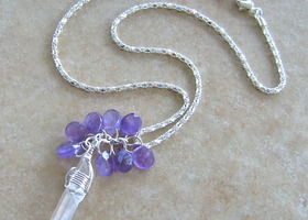 Quartz Crystal Point With Amethyst Briolette Teardrops