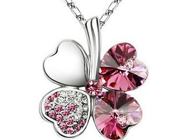 Pink Four Leaf Clover Swarovski Elements Necklace