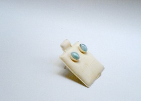 Larimar studs set in Sterling silver 925