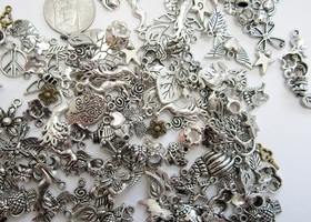 Huge Lot of  Mixed Tibetan Silver and Brass Charms