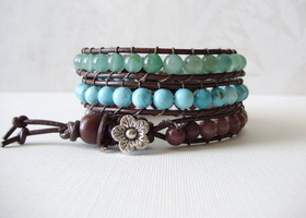 3 Single Wrap Leather Bracelets