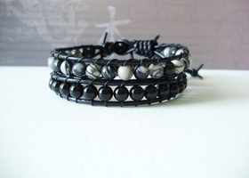 Two Black Leather Single Wrap Bracelets