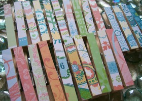 Decorative Decoupaged Clothespins Paper Both Sides SET OF 24 Whimsy Mix