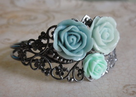 Light Blue Rose Bangle Bracelet
