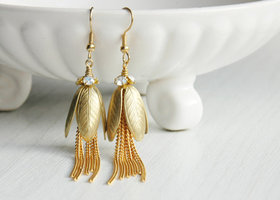 Handmade Leaf drop Tassel earrings - Vintage Swarovski