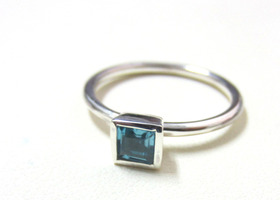 your choices Square semi-precious stone stacking ring