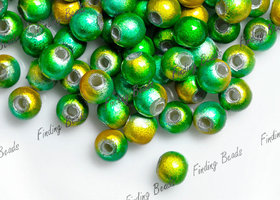 120Pcs 4x4 Miracle Acrylic Round Beads Green Yellow