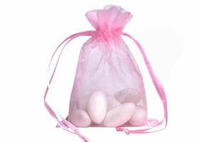 10 High Quality PINK Ribbon Drawstring Organza Bags - Size 3 x 4 - Great for Wedding Favors, Sachets, Jewelry, Showers
