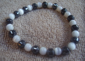 White Catseye and Hemitite Bracelet