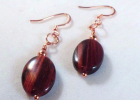 Red tigers eye copper earrings