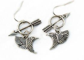 CATCHING FIRE - Katniss the Mockingjay, Girl on Fire Earrings - inspired by the Hunger Games