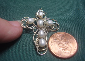 Freeform Silver Cross with Pearls