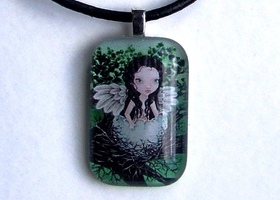 DRYAD - wearable art necklace featuring print of painting by Tanya Bond