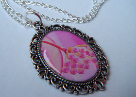 Photo art pendant necklace pink buds