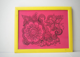 Hot Pink Abstract Flower Art Print Illustration