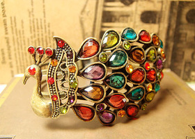 Jeweled Peacock Bracelet in Antique Gold tones