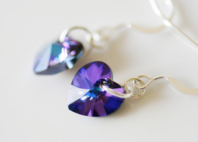 Heliotrope Heart Earrings
