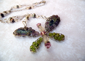 Handmade Dragonfly Necklace- One of a Kind