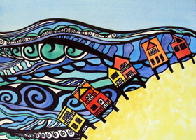 Giclee Print of the ocean and beach houses