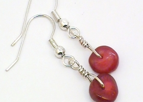 Handmade Scarlet Coral Drops Earrings