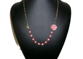 Pink Pearl Bridesmaid Necklace (Color Options available)