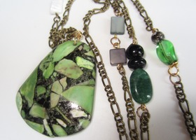 Green and Black Pendant on Copper Chain with Mixed Beads
