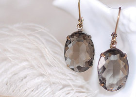 Vintage Oval Grey Earrings