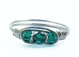 Winter Green Sterling Silver Filled Crystal Trio Ring