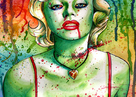 11x17 in Signed Art Print- Marilyn Monroe Zombie Doll by Carissa Rose