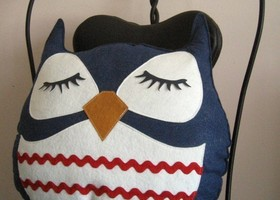 Susie the Owl Cute Vintage Inspired Navy Wool Felt Decorative Doll Pillow