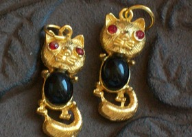 Lot of 2 Vintage Cat Charms w/ Red Rhinestone Eyes and Lucite Bellies