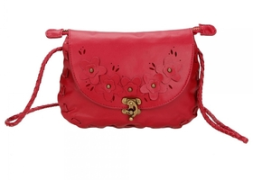 Red Messenger Handbag with Flowers