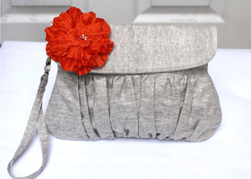 Wristlet Clutch  Purse Grey Linen with Orange Flower
