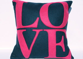 Navy and Hot Pink LOVE Pillow Cover - Eco Felt - 18""